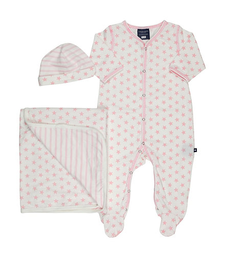 TooByDoo Star Footie, Hat and Blanket - Pink Stars