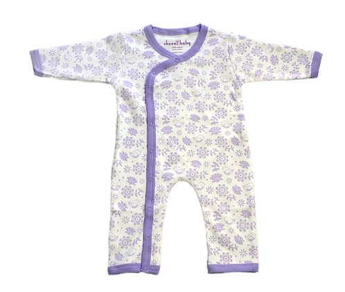 Cheeni Baby Organic Floral& Bird Kimono Romper