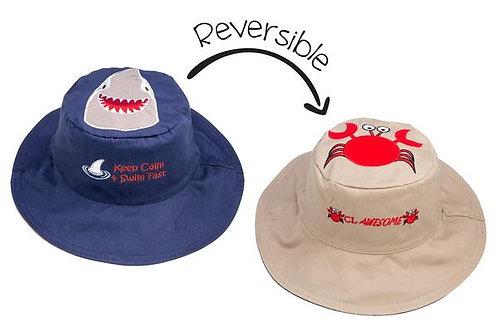 FlapJack Kids Reversible Shark Sun Hat