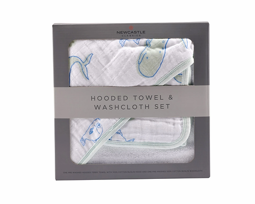Whale and Ocean Life Hooded Towel and Washcloth Set