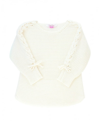 Ruffle Butts Ivory Lace Up Pullover Sweater