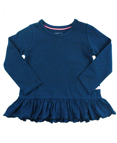 Ruffle Butts Navy Peplum Top