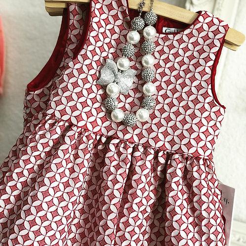 Gabby Girl Burgundy Jacquared Dress