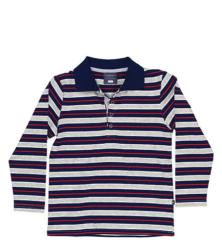 TooByDoo Striped Long Sleeve Polo Shirt