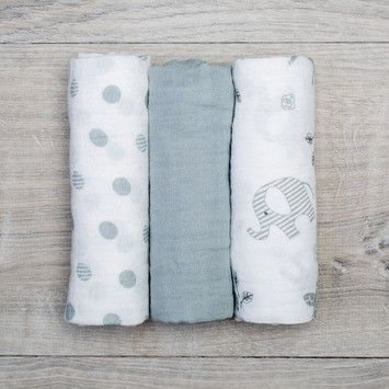 3 Piece Elephant Muslin Blanket Set