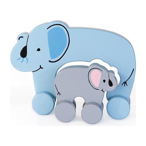 Mom & Me Wooden Elephant Rolling Toy