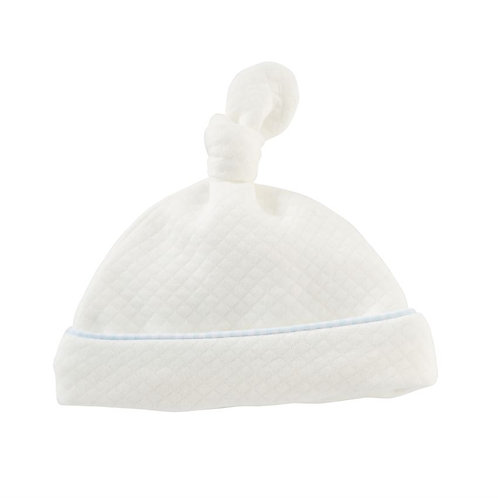 Quilted Blue Trim Infant Hat