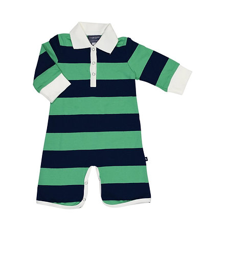 TooBYDoo Green & Blue Rugby Shortie Romper