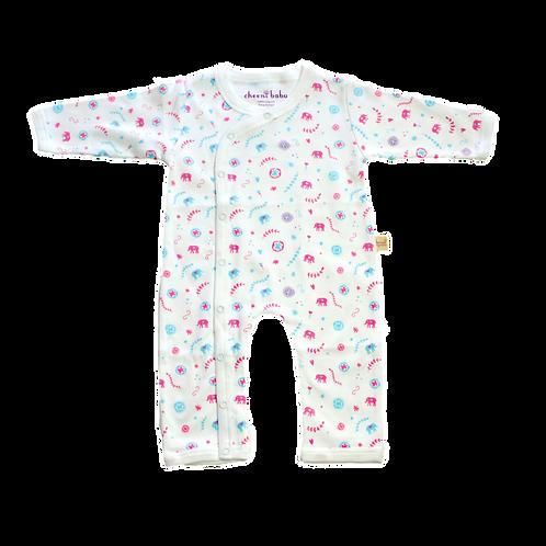 Cheeni Baby Organic Elephant Print Kimono Romper