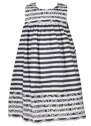 Charcoal & Eyelet Stripe Dress
