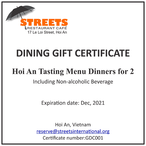 STREETS Restaurant Dining Certificate