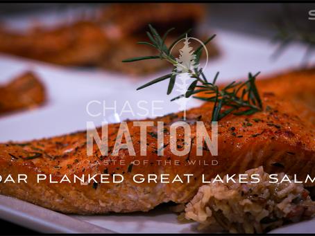 Cedar Plank Grilled Great Lakes Salmon