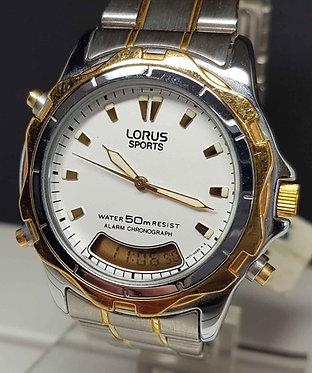 Reloj LORUS SPORTS V071 - analogico/digital- cronografo- alarma - Vintage, NOS