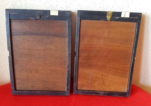2 CHASIS PORTAPLACAS de madera, para placas de cristal de 13 x 18 cm