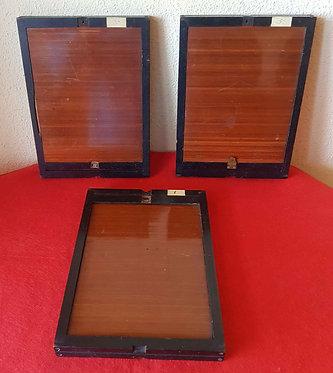 3 CHASIS PORTAPLACAS de madera, para placas de cristal de 13 x 18 cm