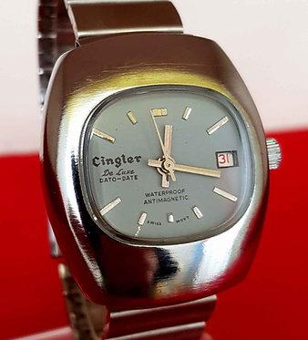 Reloj CINGLER de luxe, de cuerda, vintage, C1970, NOS