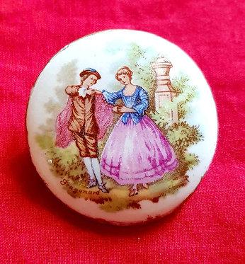 BROCHE VINTAGE de porcelana