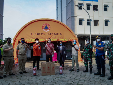 Bantuan Alat Pemadam Api Servvo untuk Penanganan Isolasi Covid di Rusun Nagrak