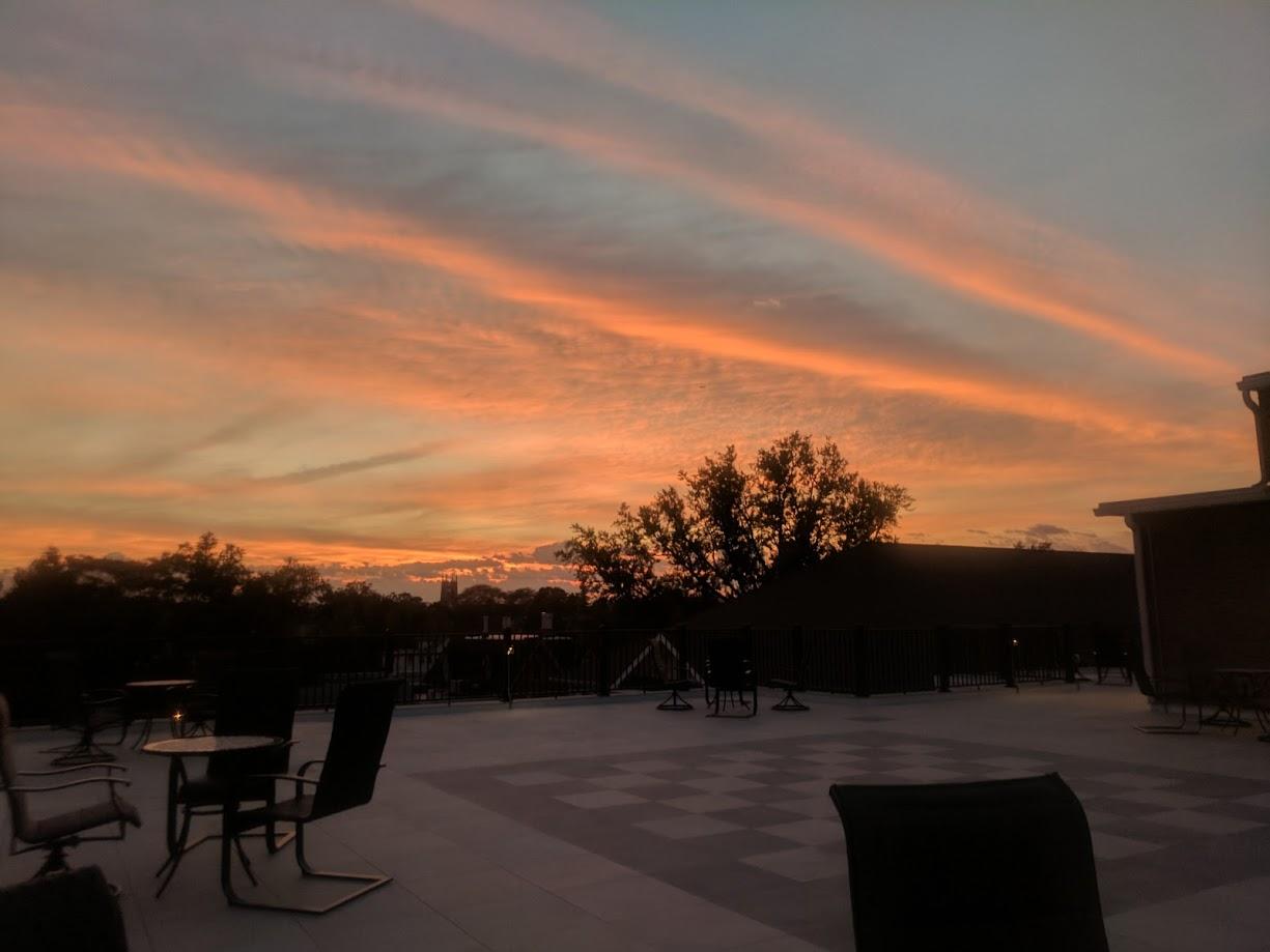 255 Nassau roof patio at dusk