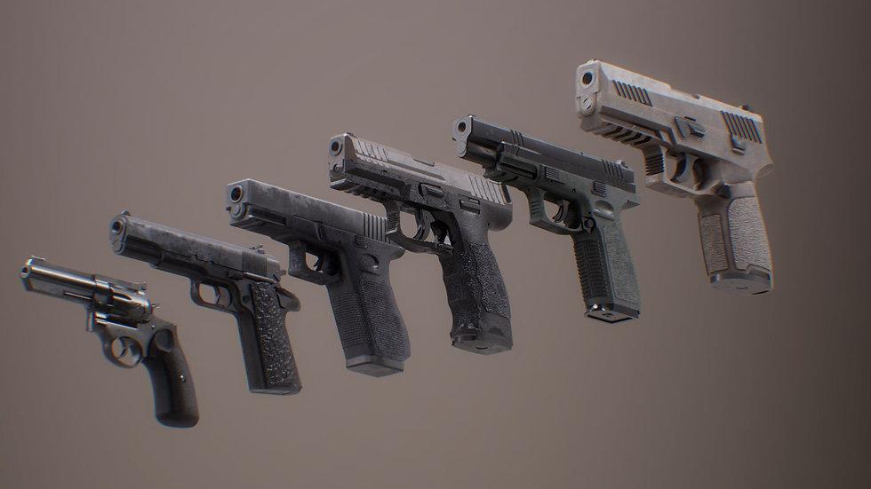 Pistol Set 1 Rigged PBR 3d Model