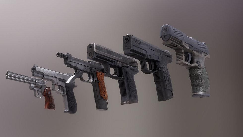 Pistol Set 2 Rigged PBR 3d model