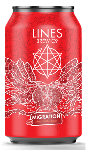 LINES BREW CO  - MIGRATION MOUNTAIN LAGER (330ml) 4.6% abv