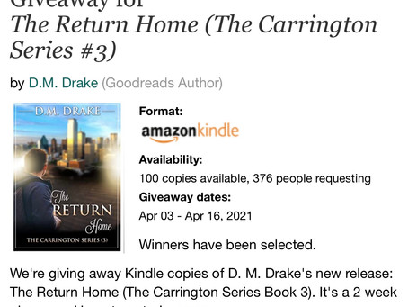 CONGRATULATIONS GOODREADS GIVEAWAY WINNERS!