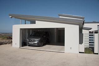 Driveway with garage door open
