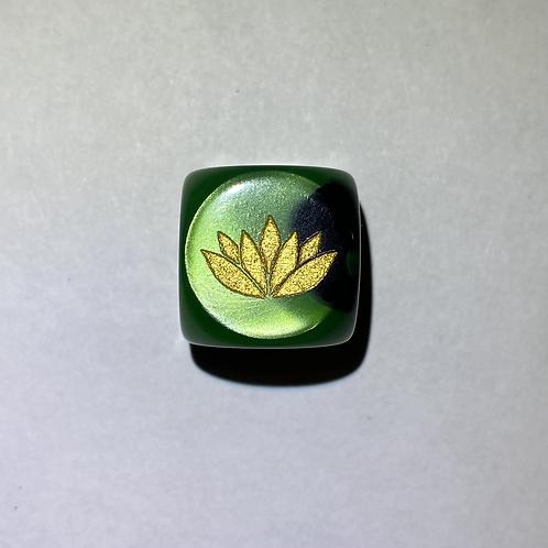 1px Gemini Black/Green/Gold Dice - Lotus Logo