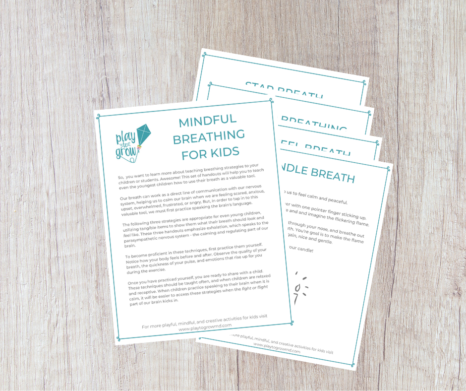 Preview image of kid's breathing strategies cards on an iphone