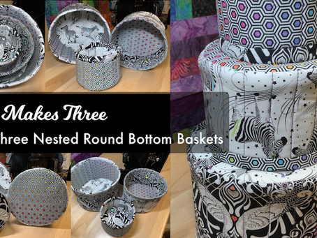 Baby Makes Three - Set of 3-Round Bottom Nested Baskets