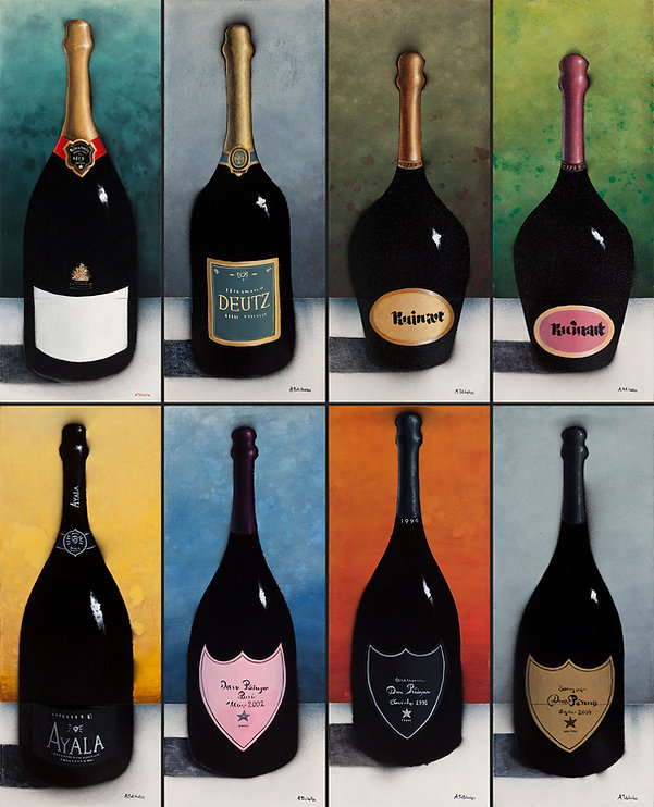 Антон Тотибадзе, бутылки, шампанское / Anton Totibadze, bottles, champagne