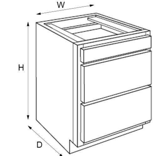 3 Drawer Base 3DB12, 15, 18, 21, 24, 27, 30, 33, 36