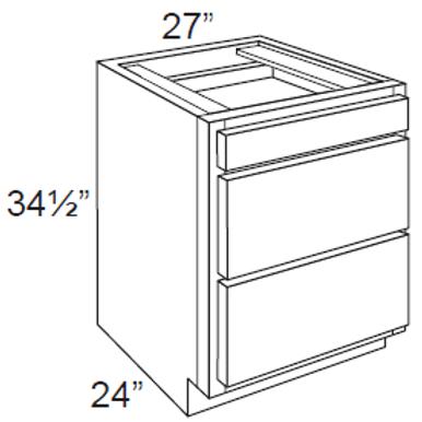 Cherry Shaker 3 Drawer Base Cabinet - 3DB27, 27W x 34.5H