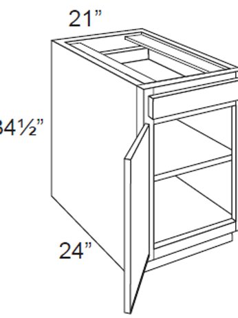 Bamboo Shaker Single Door Base Cabinets - 21W x 34.5H, B21