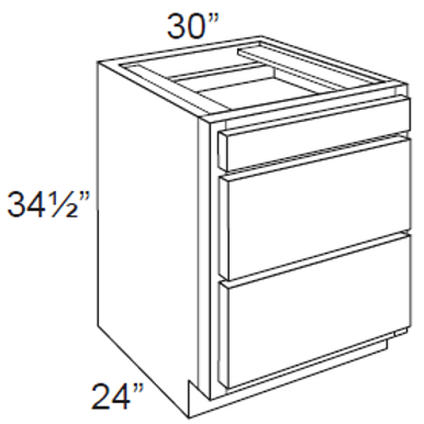 Birch Shaker 3 Drawer Base Cabinet - 3DB30, 30W x 34.5H