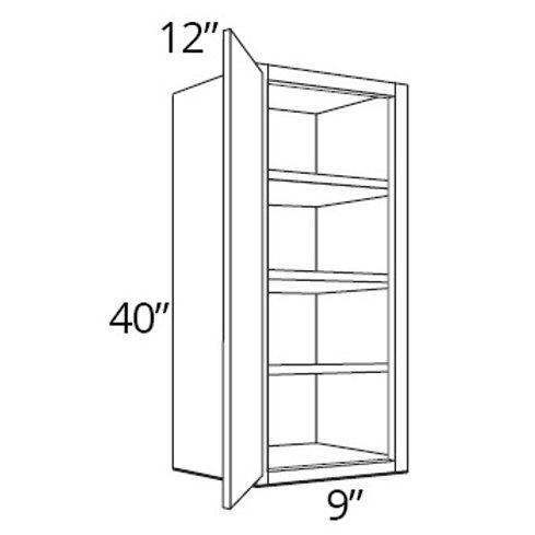 "Birch Shaker 40"" High Single Door - 9W x 40H x 12D, W0940"