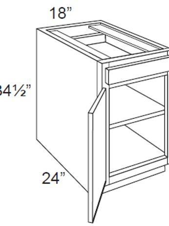 Cherry Shaker Single Door Base Cabinets - 18W x 34.5H, B18