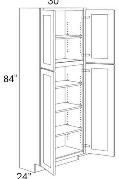 """Cherry Shaker 4 Door Pantry Cabinet 84""""H - 30W x 84H, UT3084"""
