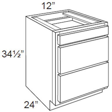 Cherry Shaker 3 Drawer Base Cabinet - 3DB12, 12W x 34.5H