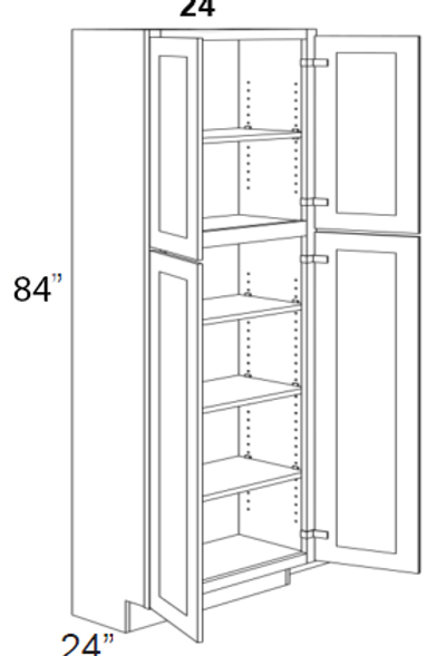 "Birch Shaker 4 Door Pantry Cabinet 84""H - 24W x 84H, UT2484"