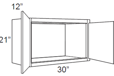 "Bamboo Shaker 12"" Deep Small Wall Cabinets - 30W x 21H x 12D, W3021"