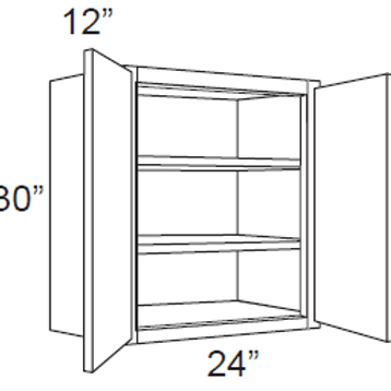 "Cherry Shaker 30"" High Double Door - 24W X 30H X 12D, 7, W2430"