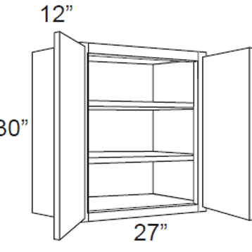 "Bamboo Shaker 30"" High Double Door - 27W X 30H X 12D, 8, W2730"