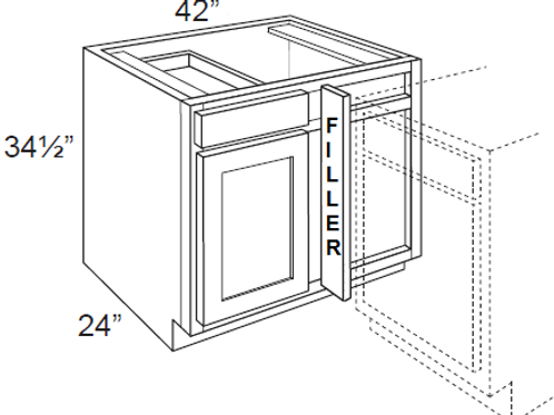 Cherry Shaker Blind Corner Cabinet - 42W x 34.5H, BBC42