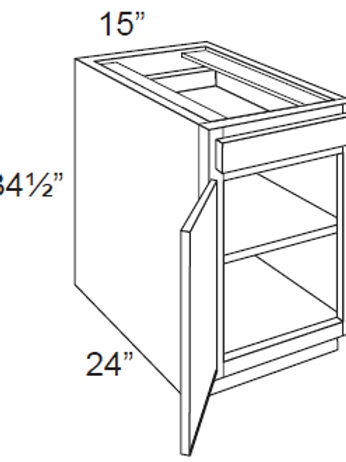 Birch Shaker Single Door Base Cabinets - 15W x 34.5H, B15
