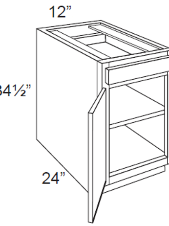 Birch Shaker Single Door Base Cabinets - 12W x 34.5H, B12