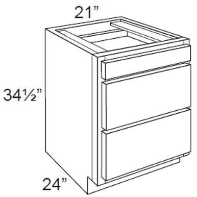 3 Drawer Base Cabinet - 3DB21, 21W x 34.5H