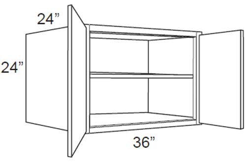 "Cherry Shaker 24"" Deep Wall Cabinets - 36W x 24H x 24D, W362424"