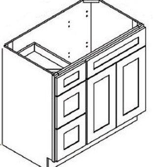 Birch Shaker Vanity Drawer Base Cabinet VAD3621